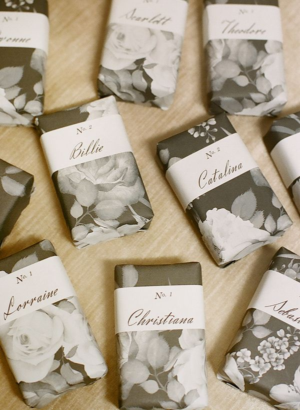 DIY Wrapped Soap Wedding Favors + Escort Cards - Photography by Christina McNeill / Styling + Design: Adelphi Events / Linens: La Tavola / Dinnerware: Fortessa / Silverware: Williams-Sonoma / Film Processing: Richard Photo Lab - via Snippet & Ink