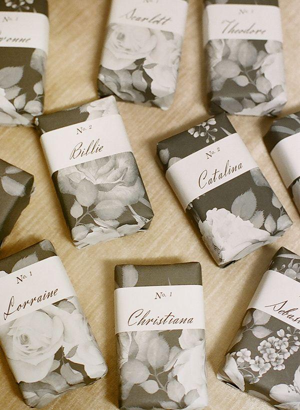 DIY Wrapped Soap Wedding Favors + Escort Cards - Photography by Christina McNeill / Styling + Design: Adelphi Events / Linens: La Tavola / Dinnerware: Fortessa / Silverware: Williams-Sonoma / Film Processing: Richard Photo Lab - via Snippet & Ink