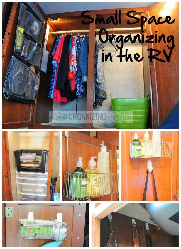 Small Space Organizing in the RV :: OrganizingMadeFun.com - She has great ideas for the RV. I've done some of these but I think I'll get a couple of those shoe organizers and add some extra storage.