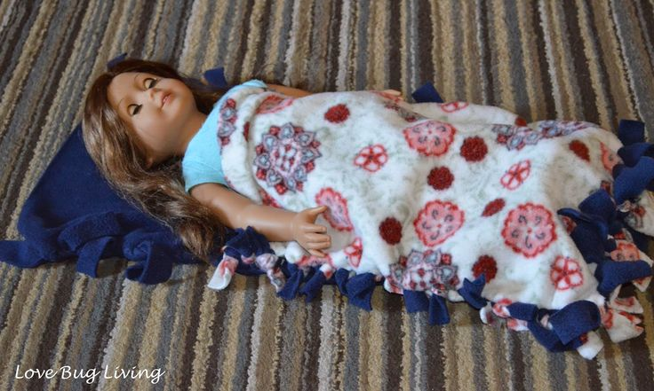 Sleepover Pajama Party Craft - Fleece tied doll sleeping bags.  Easy for the girls to make