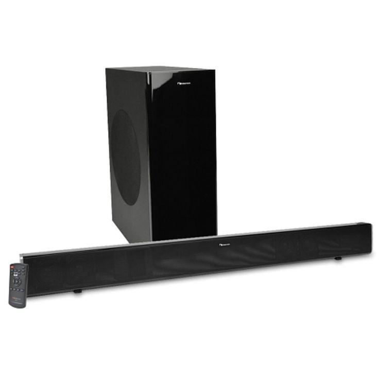 Nakamichi NK12 37 2.1-Channel 400W Bluetooth Surround Sound Bar Home Theater System w-Wireless Subwoofer (Black) - B