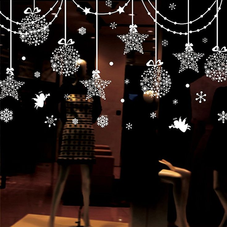 Christmas Decorations Hanging Balls Shinning Stars Snowflakes and White Angels for Home Shop Window Coverings Decor Wall Decals Stickers Holiday Celebration Presents - - Amazon.com
