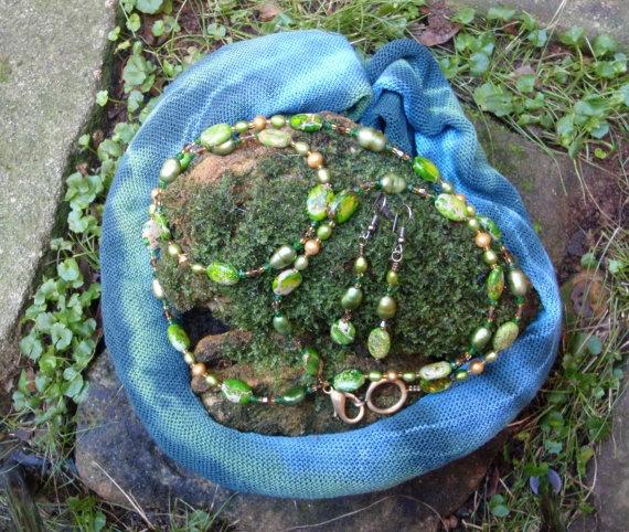 Sea Jasper - Freshwater Pearl -  Swarovski - Vintage Crystal Necklace & Earring set.. $65.00, via Etsy.