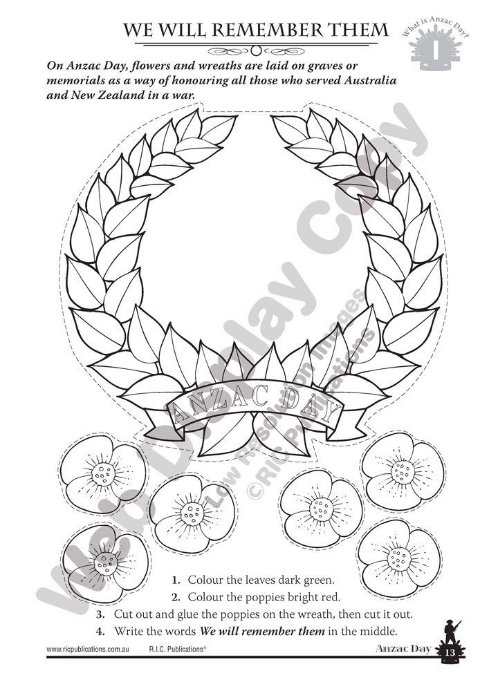 Anzac Day craft for kids. Poppy wreath. Australian History.