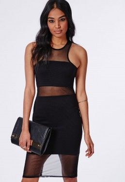 Ribbed Racer Neck Mesh Insert Midi Dress Black