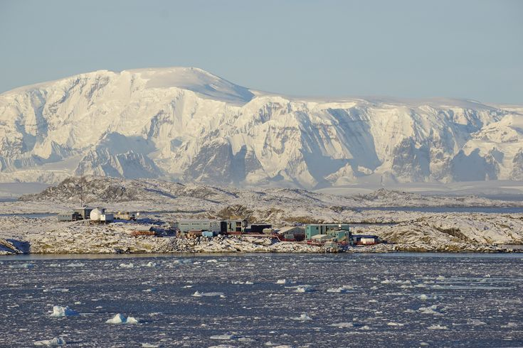 Palmer Station on May 9, 2015. Palmer is located on a protected harbor on the southwestern coast of Anvers Island off the Antarctica Peninsula. It is the only U.S. Antarctic station north of the Antarctic Circle. Palmer is well-located for biological studies of birds, seals, and other components of the marine ecosystem.