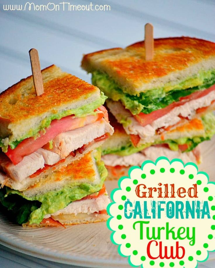 A delicious way to use up leftover turkey! Turkey, swiss cheese, bacon, lettuce, tomato and an avocado spread - a delicious Grilled California Turkey Club sandwich!