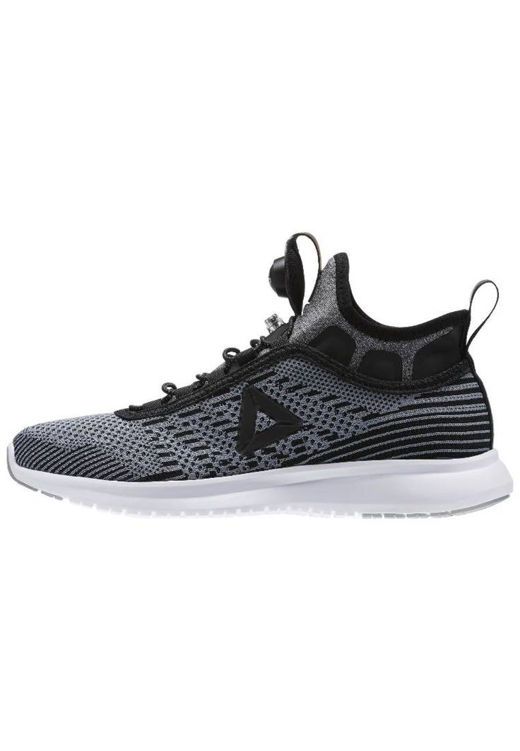 Reebok. PUMP PLUS ULTRAKNIT - Neutral running shoes - black/flint grey/white. Sole:synthetics. Sport:Running. Padding type:Cold padding. Shoe tip:round. Heel type:flat. Lining:synthetics. Qualities:breathable. shoe fastener:laces. Extras:pull tab on heel,pull tab on tongue. ...