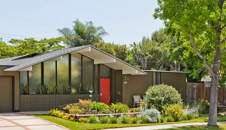 Mid Century Modern Front Windows Roof Line Entry In