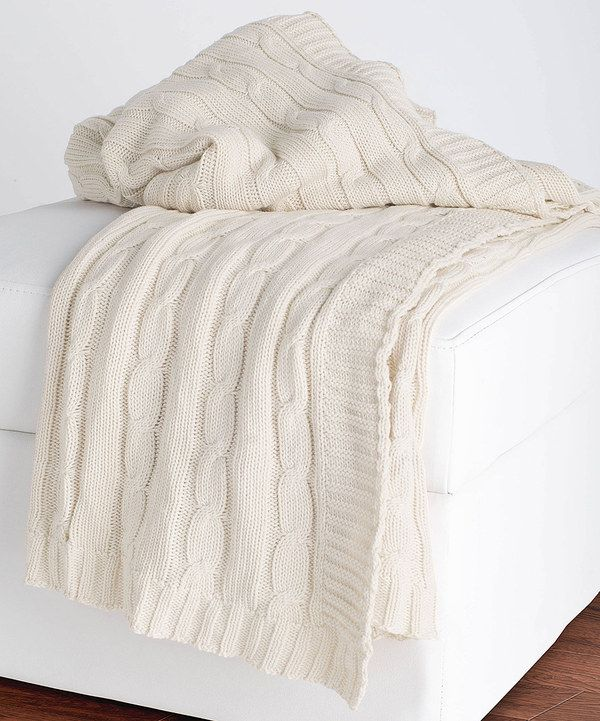 This Cream Cable-Knit Throw Blanket by Rizzy Home is perfect! #zulilyfinds