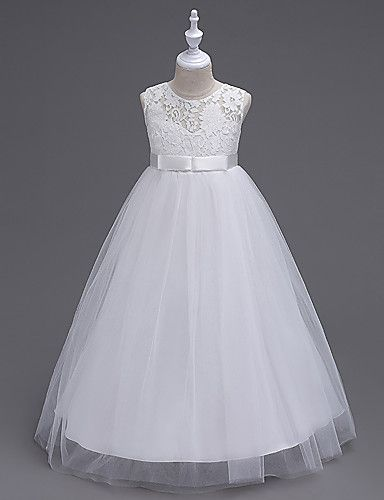 A-Line Floor Length Flower Girl Dress - Organza Sleeveless Jewel Neck with Lace by likestar