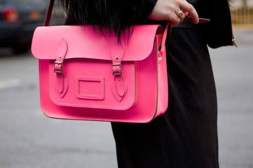 I suddenly believe I need a satchel!Mint Green, Fashion Style, Cambridge Satchel, Pink Bags, Fashion Blog, Work Bags, Leather Bags, Neon Yellow, Style Fashion