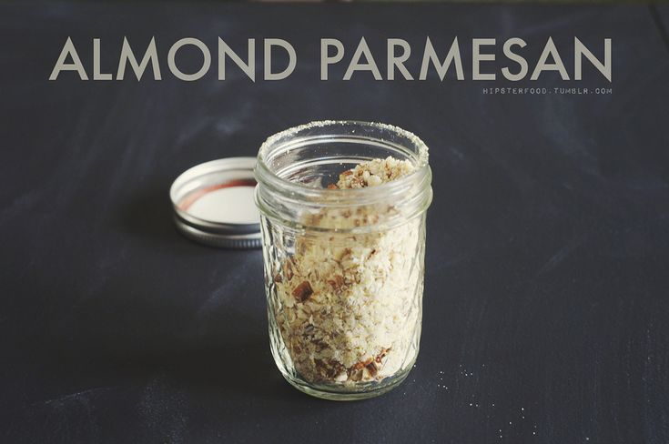 pantry staple: almond parmesan this is something so, so easy to put together, but if you've never tried it it might seem hard to make. we make a batch once a month, keeping it in an airtight container, and it  adds a ton of flavor to most any dish we make. pour a cup of raw almonds, 1 tbsp nutritional yeast, 1-2 tsp kosher salt, and 1 tsp garlic powder into a ziploc bag. (alternatively, if you have a food processor, you can use that and skip to step four.) close the bag, and put it into ...