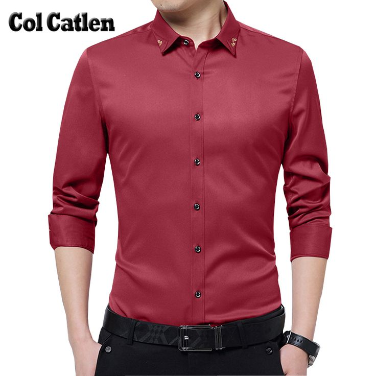 ONLY $12.52 for this Amazing Look! New Design Casual Shirts Men Fashion Cotton Slim Fit Long Sleeve Men's Shirts Solid Formal Business Male Shirt Plus Size M-5X