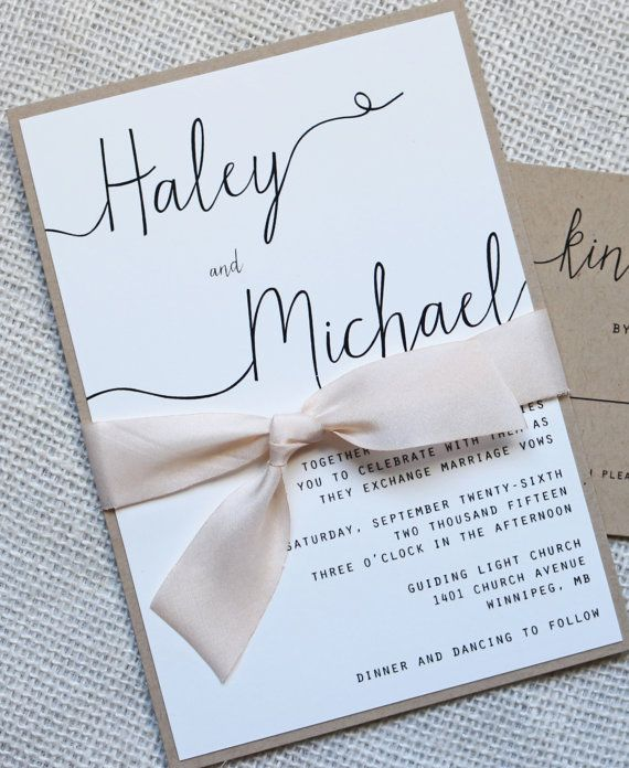 Modern Wedding Invitation Simple By Loveofcreating On Etsy