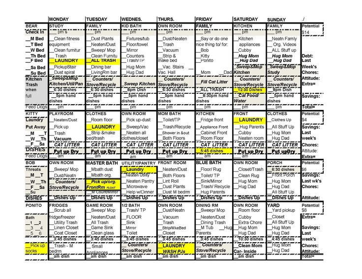 chore list spreadsheet