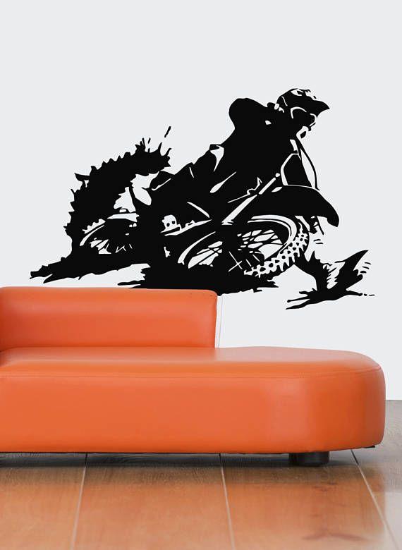 Motocross Wall Decal Dirt Bike Wall Sticker Motocross Etsy Bike Room Wall Decals Dirt Bike Room