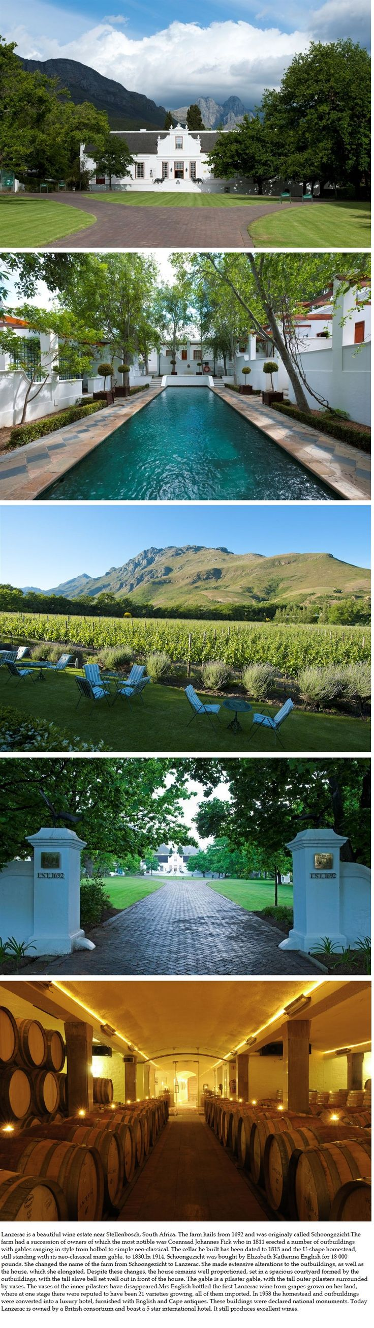 Lanzerac wine estate and hotel, South Africa.