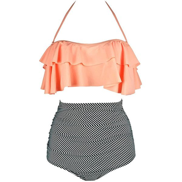 Orange & Zebra Striped Retro Boho Flounce High Waist Swimsuit (82 PEN) ❤ liked on Polyvore featuring swimwear, bikinis, padded bikini tops, high waisted two piece bathing suit, high waisted two piece swimsuit, flounce bikini top and scrunch bikini bottoms