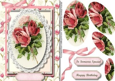 Beautiful roses and butterfly lace Pyramid on Craftsuprint designed by Ceredwyn Macrae - A lovely card to make and give to anyone on there special day Beautiful roses and butterfly lace a lovely pyramid card has two greeting tags and a blank one fro you to choose the sentiment, - Now available for download!