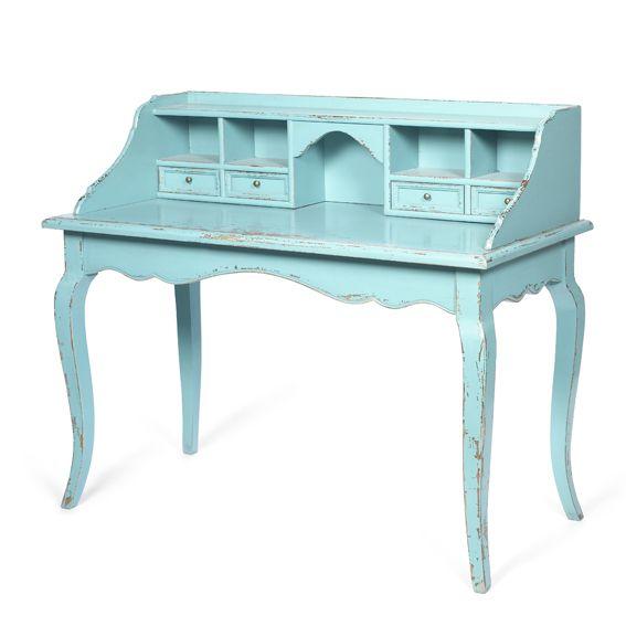 Mesa de Escritorio Vintage Turquesa Escritorio en madera y pintado decapado. Colores disponibles en turquesa, blanco o negro. Desde Eur:835 / $1110.55 en Portobellostreet.es