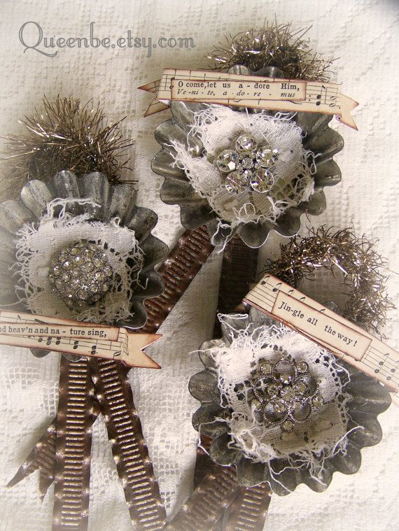 Tarnished Silver Vintage Tart Tin Christmas Ornaments by QueenBe
