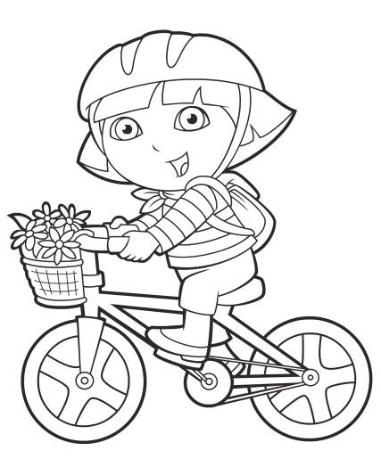 Print and color Dora on her bike! #NickJr