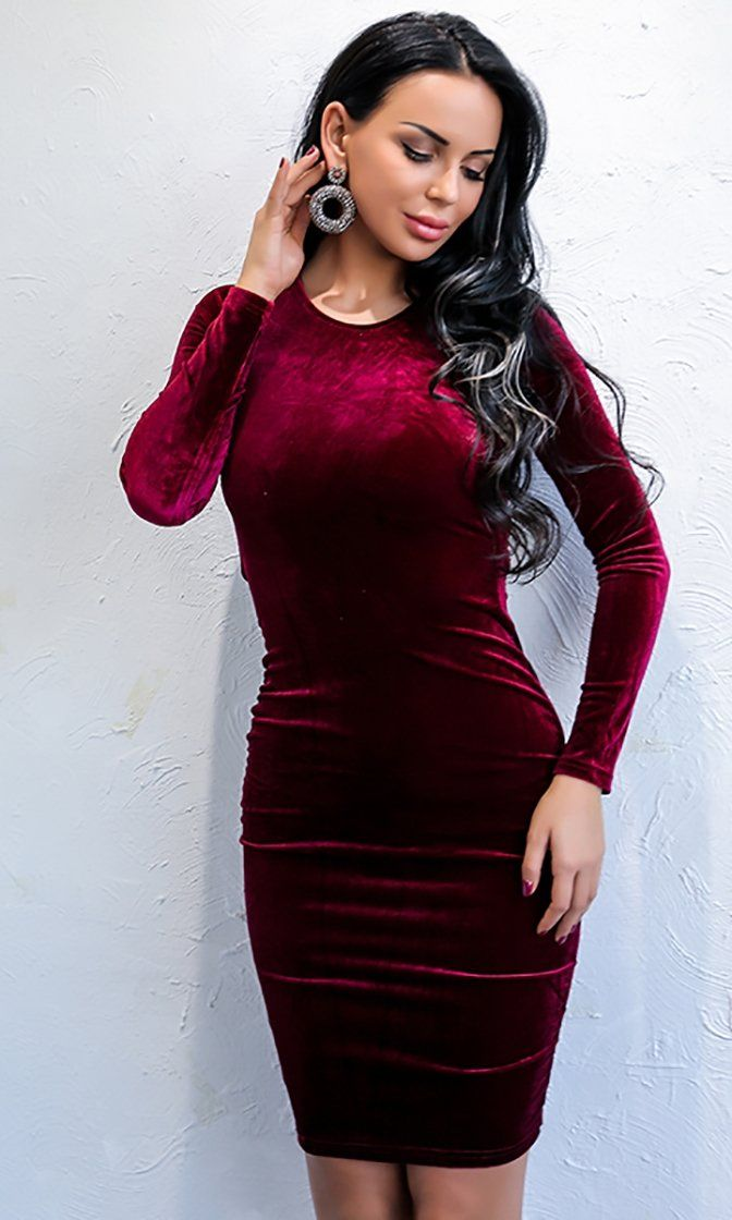82d45b920d Plush Dreams Red Velvet Long Sleeve Crew Neck Cut Out Lace Up Back Bodycon Mini  Dress