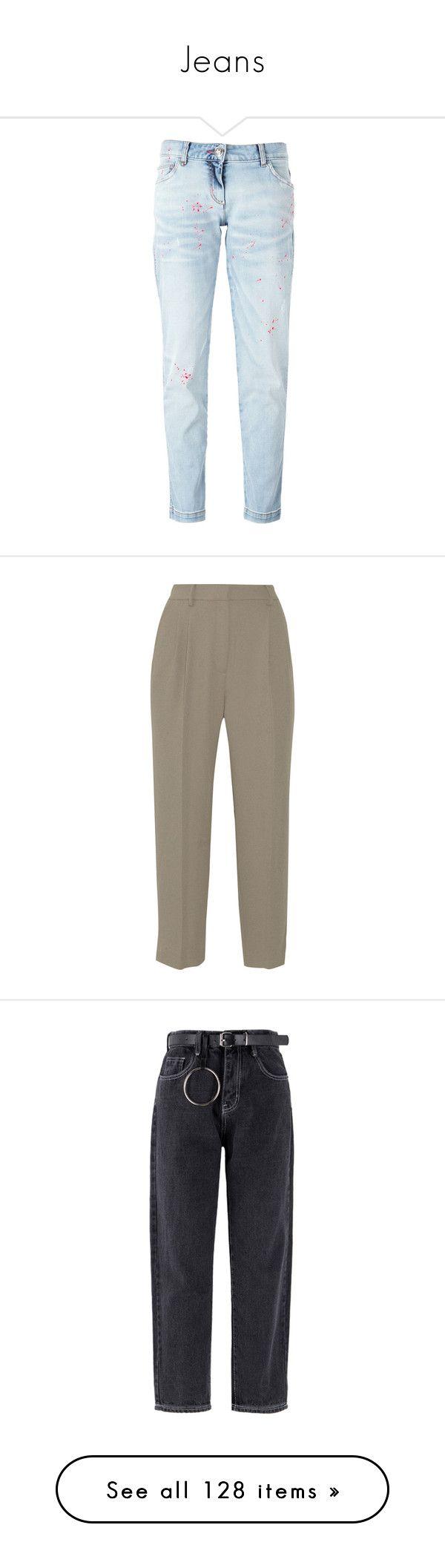 """Jeans"" by tacoxcat ❤ liked on Polyvore featuring jeans, pants, bottoms, pantalones, blue, 5 pocket jeans, philipp plein, paint splatter jeans, philipp plein jeans and boyfriend fit jeans"