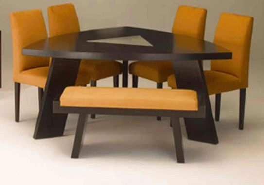 10 best images about glass wood or metal dining table on for Unusual shaped dining tables