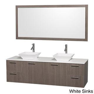Amare Grey Oak 72-inch Double Bath Vanity and 70-inch Mirror