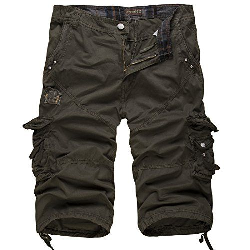 Men's Relaxed Fit Solid Long Cargo Shorts Capri Pants (no belt)(Army Green,38)