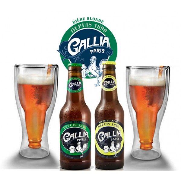 Coffret Dégustation Bière Insolite : deux jolis verres design, une bière Gallia Blonde et une Blanche pour les amateurs de bière