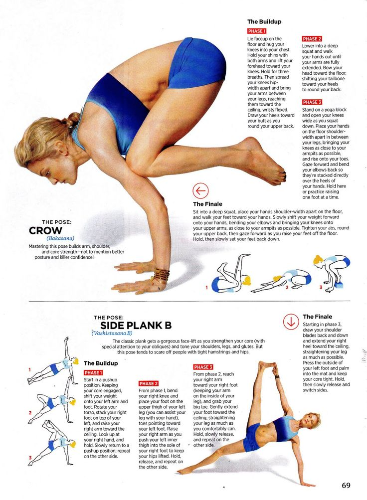 The crow pose and side plank.
