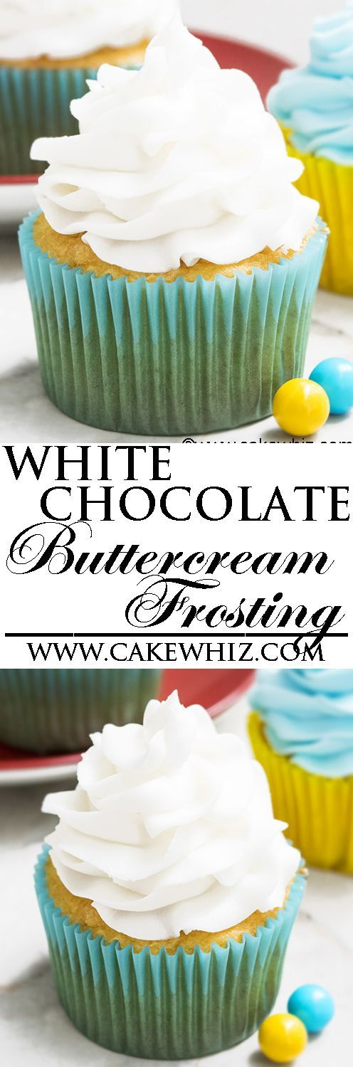This quick and easy 2 ingredient white chocolate buttercream frosting is rich, creamy and fluffy. It's made with simple ingredients from your pantry and is great for cake decorating, piping cupcakes and filling/frosting cakes. From http://cakewhiz.com