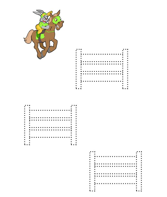 Preschool Horse Printable: Trace the fences the horse will jump