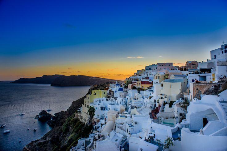 Sunset at touristy Oia in Santorini!