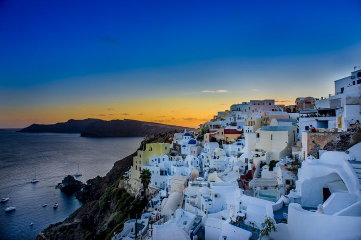 Sunset at touristy Oia in Santorini!