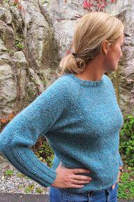 Strikkefeber: Turkis genser i Tweedmohair...