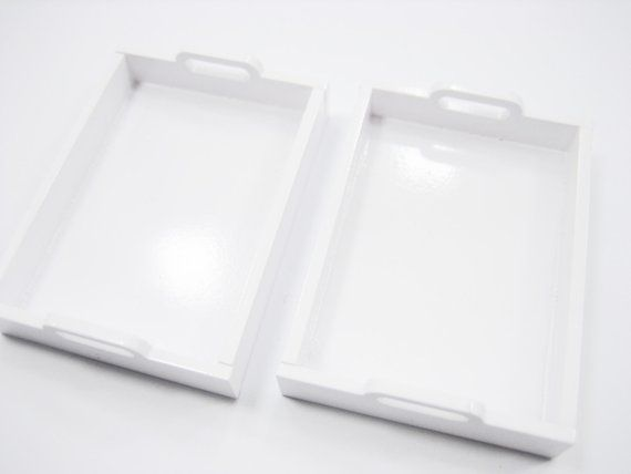 Dollhouse Miniature Accessories Supply 4 Empty Plastic Lunch Box Tray 8895