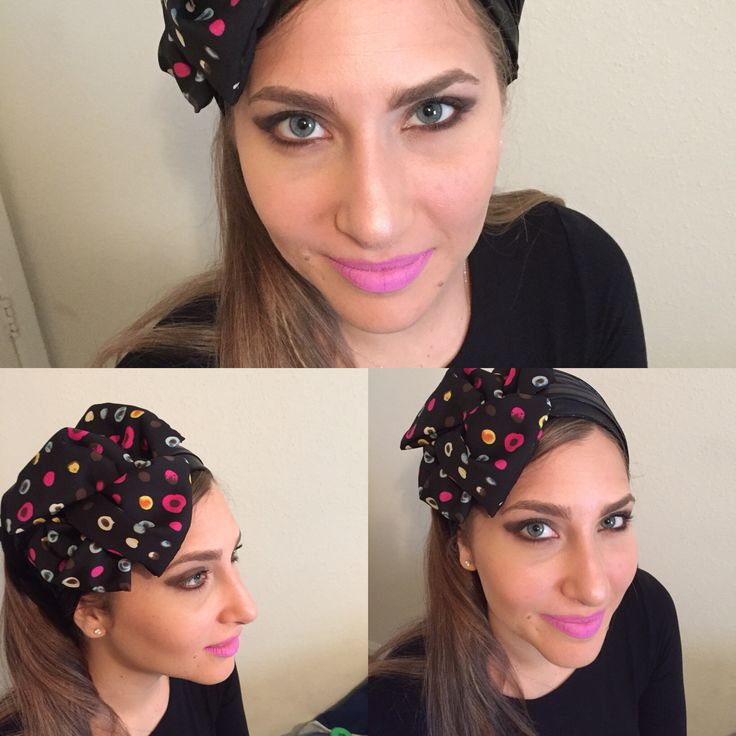 Black head cover/ head band with bow with drops of color.  www.elishevashoham.com
