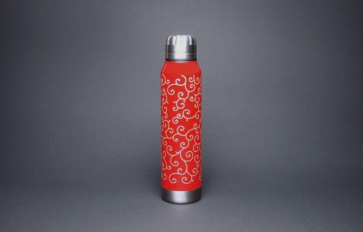 土直漆器×thermo mug URUSHI UMBRELLA BOTTLE KARAKUSA SHU(漆アンブレラボトル 唐草 朱)