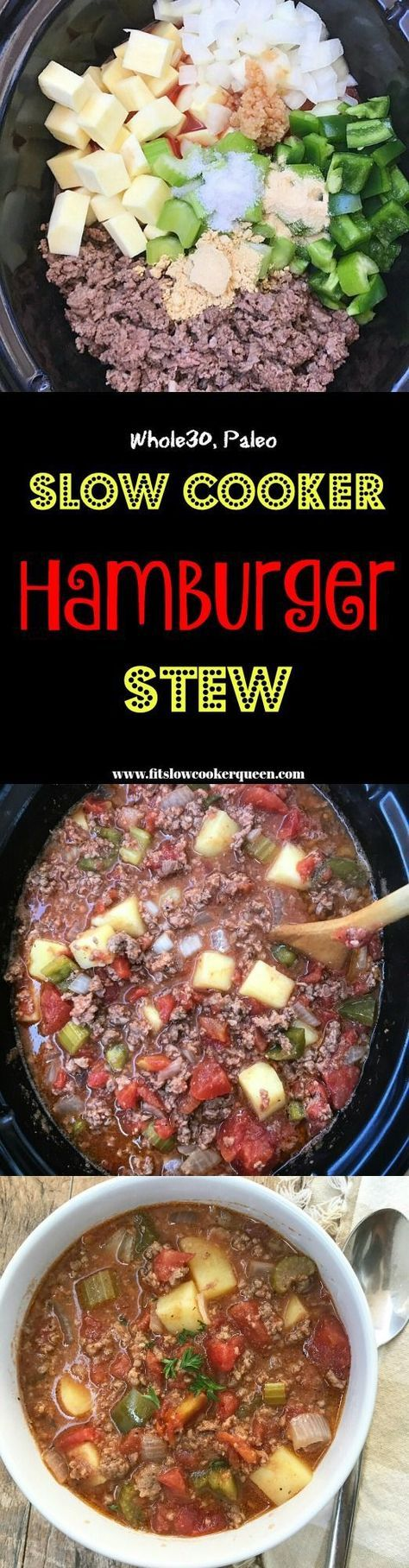 Hamburger flavors in a stew! Not just any stew, a healthy whole 30 compliant and paleo stew that cooks in your slow cooker in just a couple of hours.
