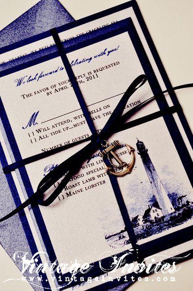 The Rose Lighthouse Vintage Wedding Invitation