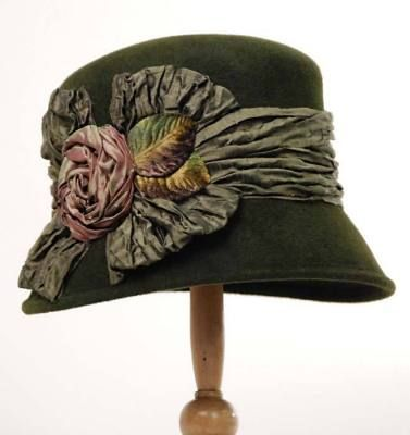 """Louise Green Renaissance Rose Hat-    Crinkled iridescent silk is gathered, rolled and folded upon a classic silhouette. Arrives in a keepsake hat box. USA."""