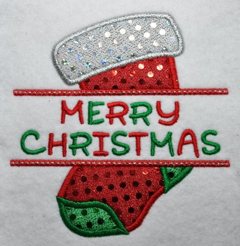 Split Christmas Stocking Applique. New T-shirts for family to wear at Christmas.?