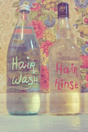 Homemade shampoo from baking soda and apple cider vinegar rinse!... this actually works wonders! I love it and there's no yucky smell at all. it gets all products out of your hair with one wash and rinse. cheap and easy :-)