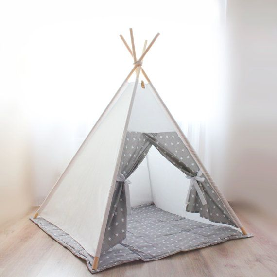 Kids teepee tent gray stars - Playhouse - Play tent - Christmas gift - Baby gift - Childrens gift - Girls teepee - Nursery decor  sc 1 st  Pinterest & Best 25+ Boys play tent ideas on Pinterest | Girls play tent Play ...