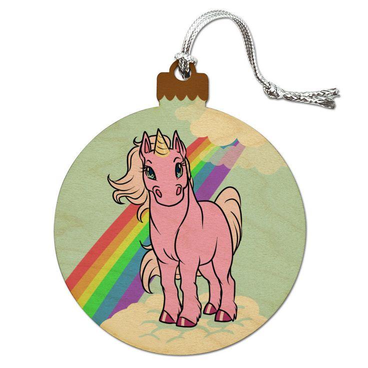 Pink Unicorn Floating On Cloud Rainbow Wood Christmas Tree Holiday Ornament