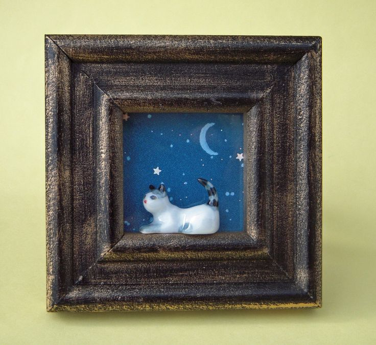 Miniature room with a view, shadow box, picture frame, window sill, cat and moon, blue, night sky, children's art, diorama, stars, small art by DeborahMcGeeArt on Etsy https://www.etsy.com/listing/501240500/miniature-room-with-a-view-shadow-box